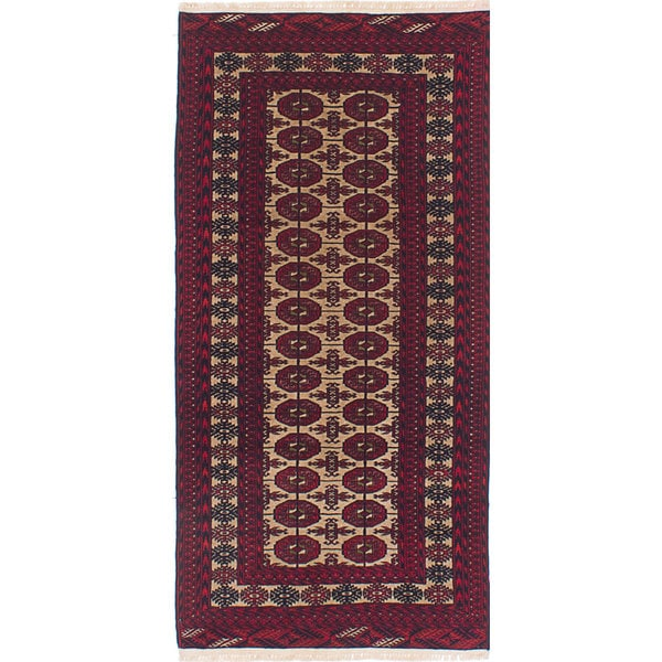 eCarpetGallery Ivory/Red Wool Hand-knotted Finest Rizbaft Rug (2'9 x 5'7)