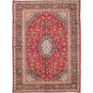 eCarpetGallery Kashan Red Wool Hand-knotted Rug (9'8 x 13')