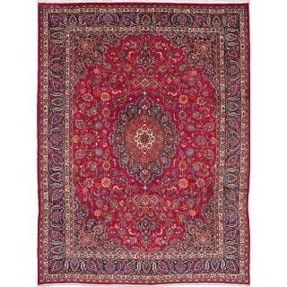eCarpetGallery Red Wool Hand-knotted Mashad Rug (10'0 x 13'0)