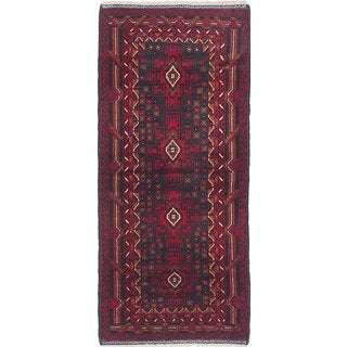 eCarpetGallery Finest Rizbaft Blue/Red Wool Hand-knotted Rug (2'9 x 6'6)