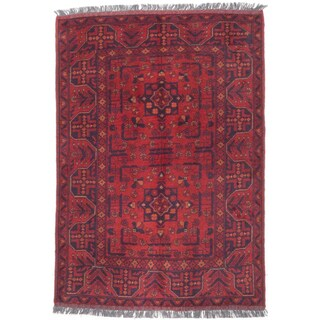 eCarpetGallery Hand-knotted Finest Khal Mohammadi Red/Black/Cream/Brown Wool Rug (3'4 x 4'10)