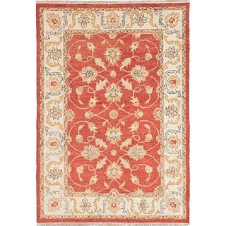 eCarpetGallery Hand-knotted Chubi Collection Red Wool Rug (4'1 x 5'10)