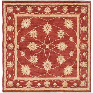 eCarpetGallery Hand-knotted Chubi Collection Red Wool Rug (5'2 x 5'4)