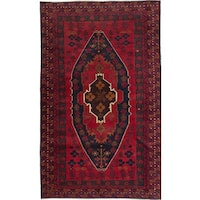 eCarpetGallery Red/Brown Wool Hand-knotted Finest Rizbaft Rug (3'10 x 6'5)