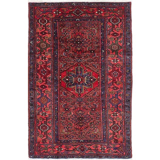 eCarpetGallery Red Wool Hand-knotted Hamadan Rug (4'3 x 6'6)