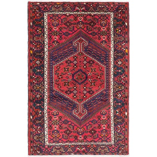 eCarpetGallery Red Wool Hand-knotted Hamadan Rug (4'5 x 6'11)