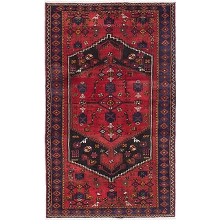 eCarpetGallery Hand-Knotted Hamadan Red Wool Rug (4'3 x 7'3)