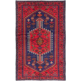 eCarpetGallery Hand-knotted Oriental Hamadan Blue/ Red Wool and Cotton Area Rug (4'4 x 7'1)