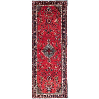 eCarpetGallery Hamadan Red Hand-knotted Wool Rug (3'5 x 9'8)