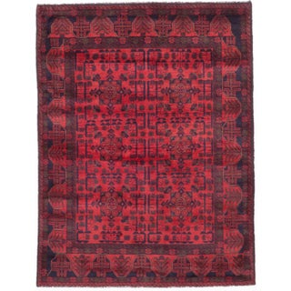 eCarpetGallery Red and Black Wool Hand-knotted Finest Khal Mohammadi Rug (5' x 6'6)