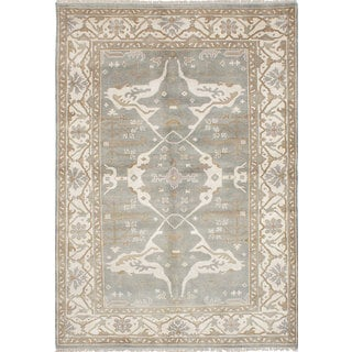ecarpetgallery  Hand-Knotted  Royal Ushak Grey  Wool Rug (6'3 x 9'0)