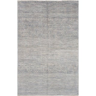 Hand-knotted Finest Ushak Grey Wool Rug - 5'11 x 9'3