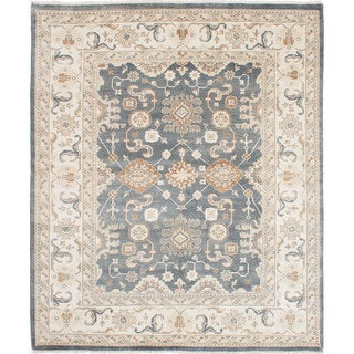 eCarpetGallery Royal Ushak Grey Wool and Cotton Hand-Knotted Rug (8'0 x 9'7)