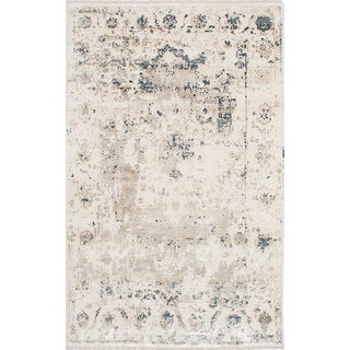 eCarpetGallery Elixir Ivory Viscose from Bamboo Hand-knotted Rug (5'10 x 9'3)