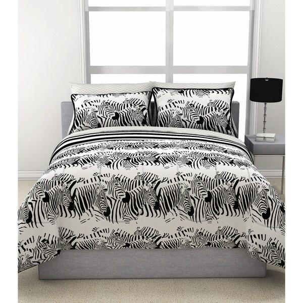 Zebra Stampede Reversible Comforter and Sheet Set