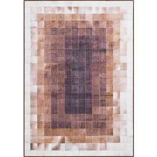 eCarpetGallery Lara Art Brown/Ivory Microfiber Handmade Rug - 3'11 x 5'8