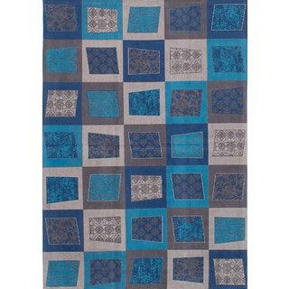 eCarpetGallery Enchanted Blue/Grey Viscose Handmade Area Rug (5'3 x 7'6)