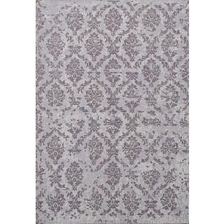 eCarpetGallery Hand Made Enchanted Grey Viscose Rug (5'3 x 7'9)
