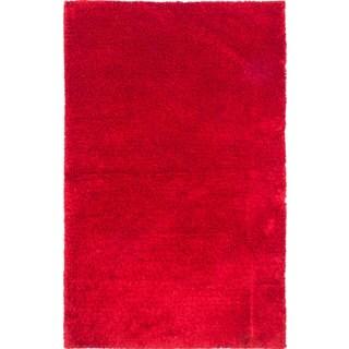 eCarpetGallery Neon Red Cotton/Polypropylene Handmade Shag Rug (5'2 x 8'3)