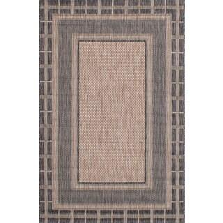 eCarpetGallery Arto Black/Ivory Polypropylene Rug (4'11 x 7'7)