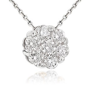 Luxurman 14K White Gold 0.5ct TDW Round Diamond Cluster Pendant Necklace (H-I; SI1-SI2)