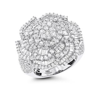 Luxurman 18k White Gold 3 1/4ct TDW Diamond Flower Statement Ring (G-H; S1-S2)