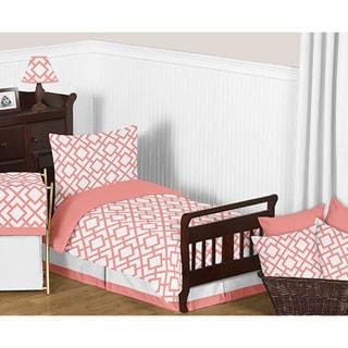 Sweet Jojo Designs White and Coral Mod Diamond Comforter Set
