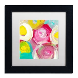 Amy Vangsgard 'Rose Garden Circles Square 2' Matted Framed Art