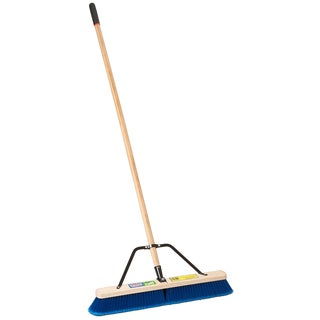 "Laitner Brush Company 1426AJ 24"" Multi Surface Push Broom With 60"" Wood Handle"
