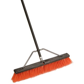 "Laitner Brush Company 260A 24"" Assembled Indoor & Outdoor Push Broom W/60"" Metal Handle"
