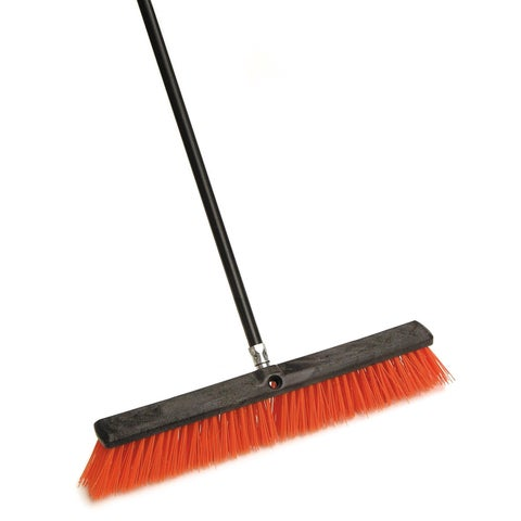 "Laitner Brush Company 267 24"" Stiff Outdoor Push Broom With 60"" Metal Handle"