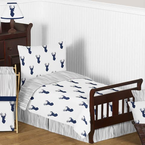 Sweet Jojo Designs Navy and White Woodland Deer Comforter Set