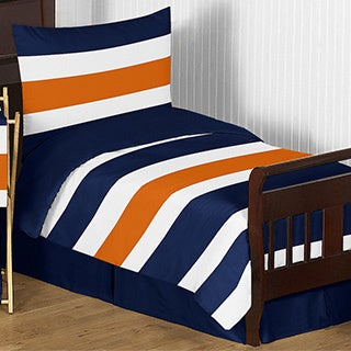 sweet jojo designs navy blue and orange stripe comforter set