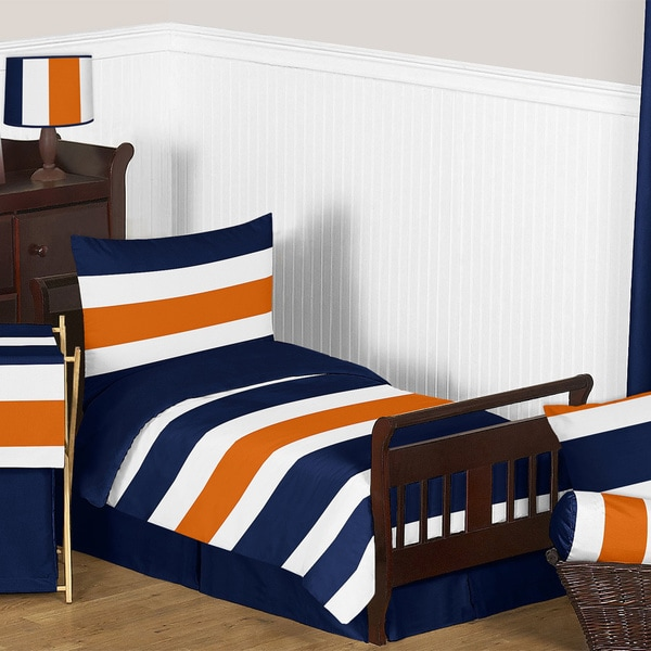 Shop Sweet Jojo Designs Navy Blue And Orange Stripe