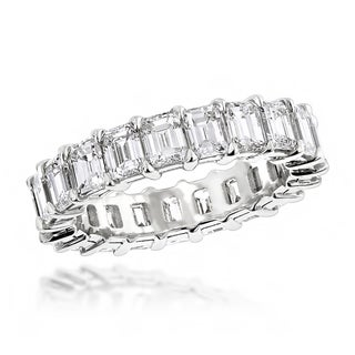 Luxurman Platinum 6 3/5ct TDW Emerald Cut Diamond Eternity Anniversary Ring (F-G; VS1-VS2)