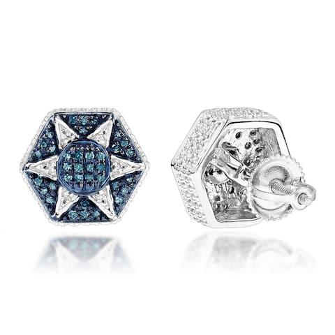 Luxurman Sterling Silver 0.30ct TDW Blue Diamond Star Earrings