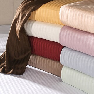 Superior Cotton 650 Thread Count Deep Pocket Striped Queen Size Sheet Set in Ivory (As Is Item)