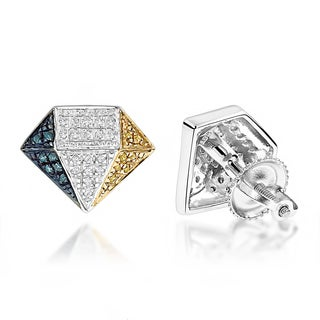 Luxurman Sterling Silver 1/3ct TDW Tri-color Diamond Earrings (H-I/Blue/Yellow, I1-I2)