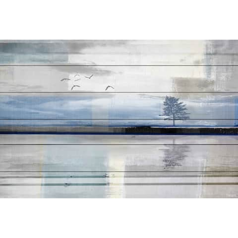 Parvez Taj - 'Shimmering Reflection' Painting Print on White Wood