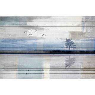 Handmade Parvez Taj - Shimmering Reflection Print on White Wood