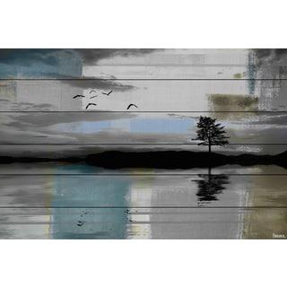 Handmade Parvez Taj - Tree Reflection Print on White Wood
