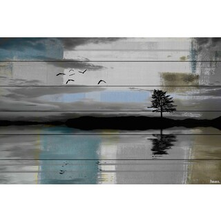 Parvez Taj - 'Tree Reflection' Painting Print on White Wood