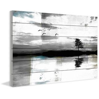 Handmade Parvez Taj - Lone Lake Tree Print on White Wood