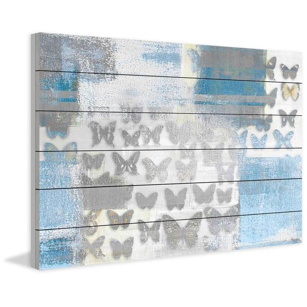 Handmade Parvez Taj - Butterfly Frenzy Print on White Wood