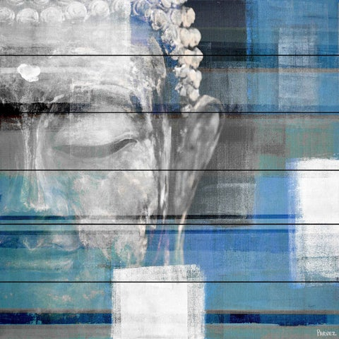 Parvez Taj - 'Blue Buddha' Painting Print on White Wood