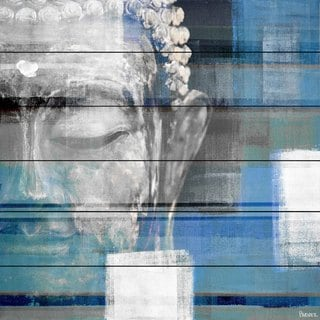 Handmade Parvez Taj - Blue Buddha Print on White Wood