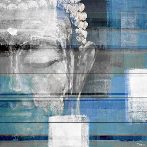 Handmade Parvez Taj - Blue Buddha Print on White Wood
