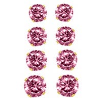 Breast Cancer Awareness 14k Yellow Gold Pink Cubic Zirconia Stud Earrings