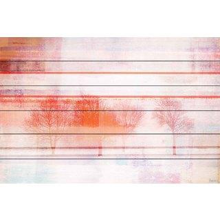 Parvez Taj - 'Red Tree Bunch 2' Painting Print on White Wood