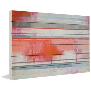 Parvez Taj - 'Red Tree Bunch' Painting Print on White Wood